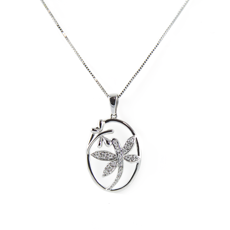 Dragonflies white gold necklace ma of london jewelers white gold necklace aloadofball Gallery